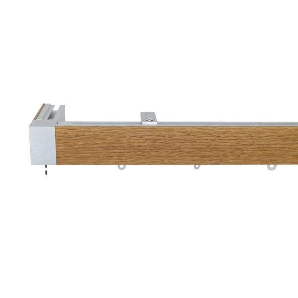 Icon M52 40 x 25 mm Aluminum Oak Facial Poles Set Single Bracket for 6cm Wave Curtains Natural