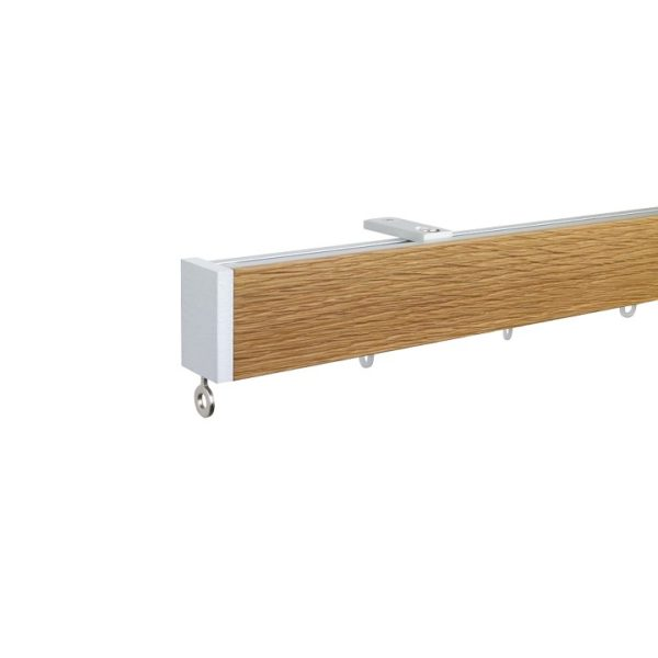 Icon M52 40 x 25 mm Aluminum Oak Facial Poles Set Ceiling Bracket for 6cm Wave Curtains Natural