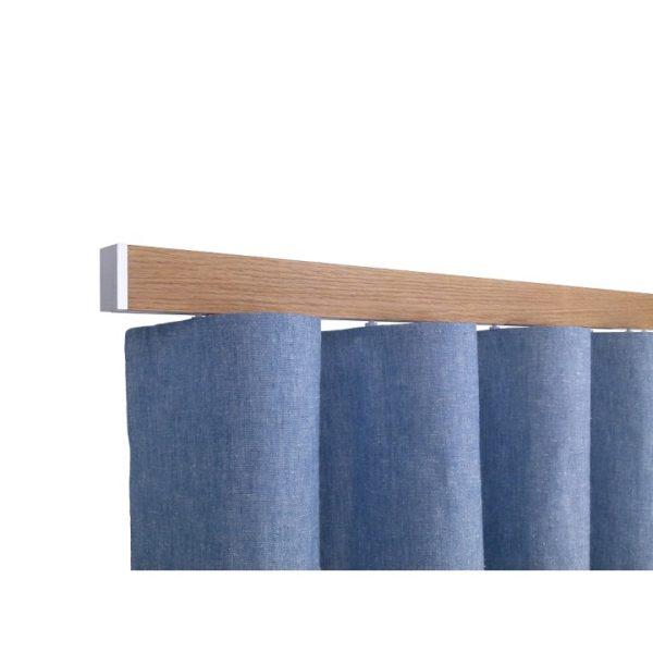 Icon M52 40 x 25 mm Aluminum Oak Facial Poles Set Ceiling Bracket for 6cm Wave Curtains Natural