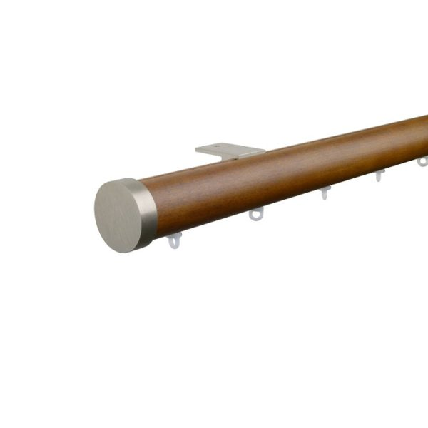 Kouvola 35 mm  Wood Pole Set for 6 cm Wave Curtains Dark Oak