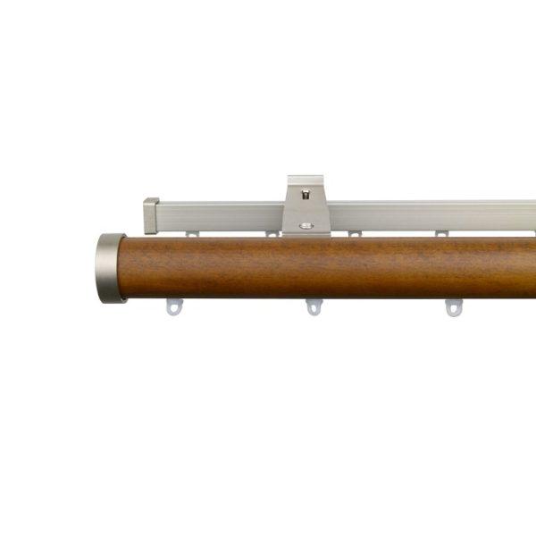 Kouvola 35 mm Wood Pole Set Double for 6 cm Wave Curtains Dark Oak