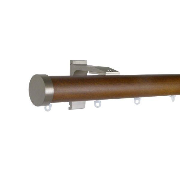 Kouvola 35 mm Wood Pole Set for 6 cm Wave Curtains Dark Oak