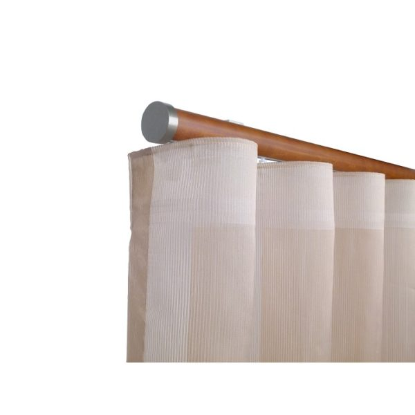 Kouvola 35 mm Wood Pole Set for 6 cm Wave Curtains Medium Oak