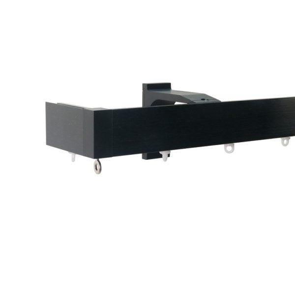 Now M51 40 x 18 mm Aluminum Poles Set Single Bracket for 6cm Wave Curtains Black, End Return