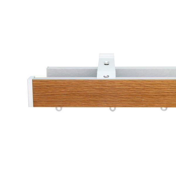 Icon M52 40 x 25 mm Aluminum Oak Facial Poles Set Double Bracket for 6cm Wave Curtains Natural