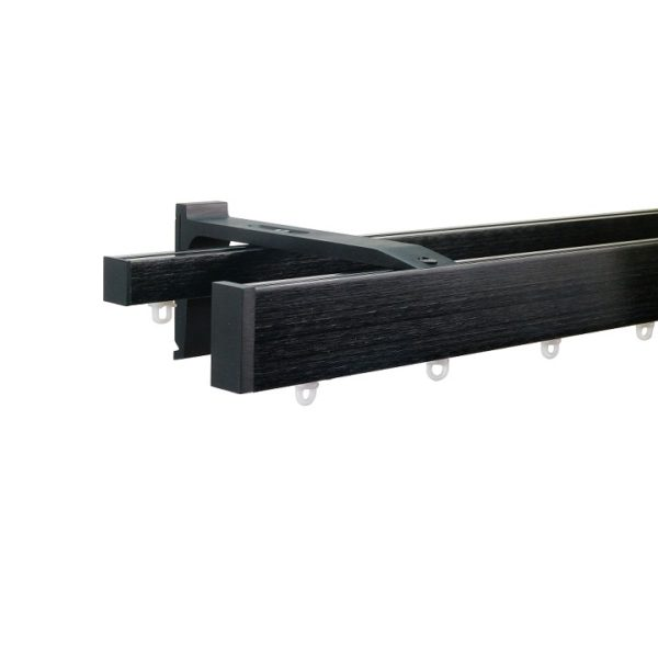 Now M51 40 x 18 mm Aluminum Poles Set Double Bracket for 6cm Wave Curtains Black