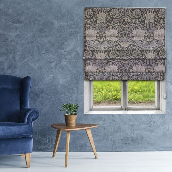 Morris Pure Honeysuckle & Tulip Print  Black Ink Roman Blind