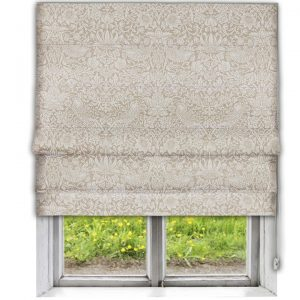 Morris Pure Strawberry Thief Flax Roman Blind