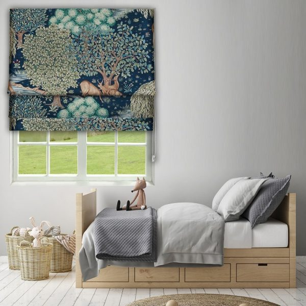 Morris The Brook Tapestry Blue Roman Blind