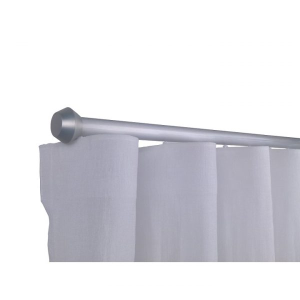 Oslo M81 28 mm Geometric Aluminum Poles Set Single Bracket for 6cm Wave Curtains Natural