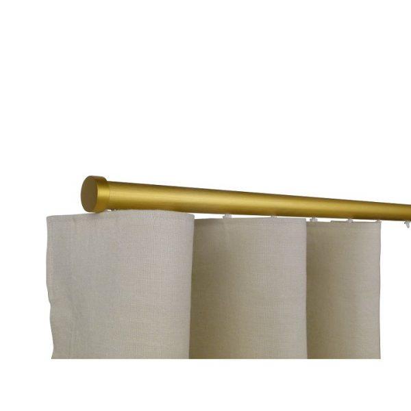 Oslo M82 28 mm Aluminum Poles Set Single Bracket for 6cm Wave Curtains Satin Gold