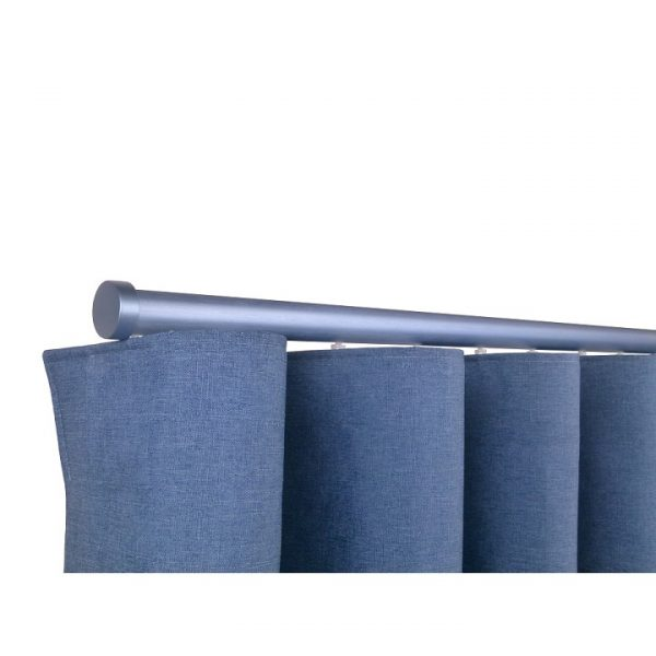 Oslo M82 28 mm Aluminum Poles Set Single Bracket for 6cm Wave Curtains Silver Blue