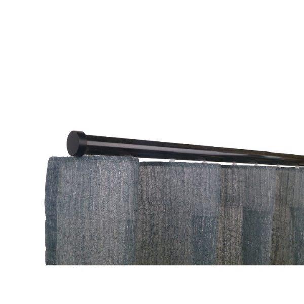 Oslo M82 28 mm Aluminum Poles Set Single Bracket for 6cm Wave Curtains Black