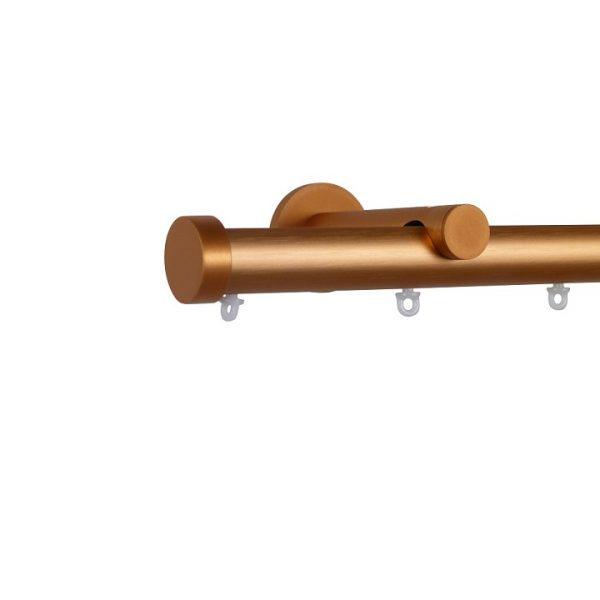 Oslo M82 28 mm Aluminum Poles Set Single Bracket for 6cm Wave Curtains Rose Gold