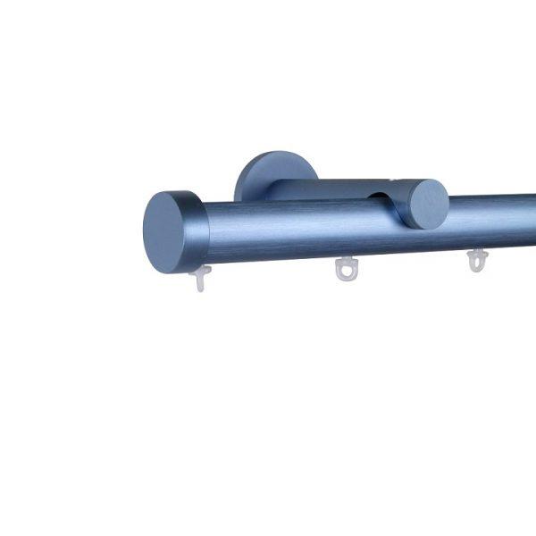 Oslo M82 28 mm Aluminum Poles Set Single Bracket for 6cm Wave Curtains Silver Blue