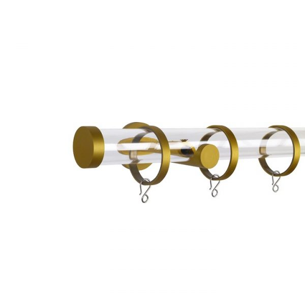 Oslo M84 30 mm Acrylic Poles Set Single Bracket Satin Gold
