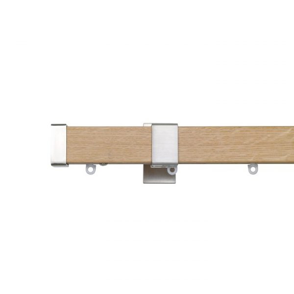 Kouvola 35 x 35 mm Wood Pole Set Ceiling Bracket Ceiling Bracket  for 6 cm Wave Curtains Sawn Medium Oak