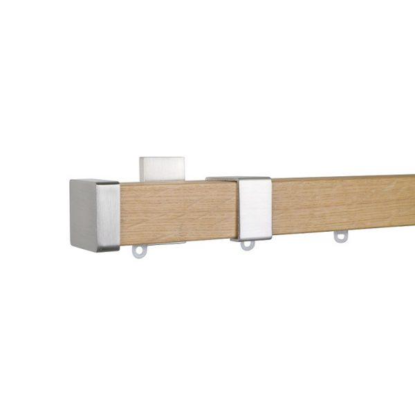 Kouvola 35 x 35 mm Wood Pole Set Single Bracket  for 6 cm Wave Curtains Sawn Medium Oak