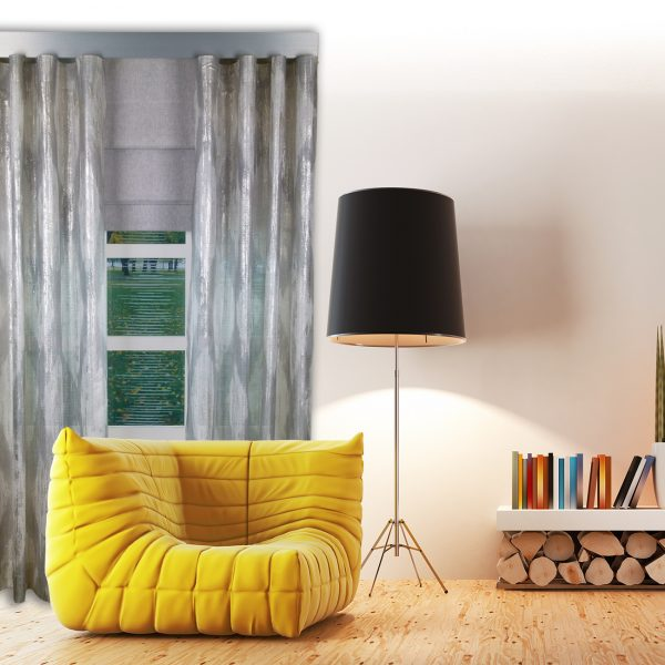 Combi Prestigious Perspective Flint Wave Curtain with Iceland Flint Roman Blinds