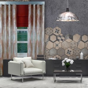 Combi Prestigious Perspective Spice Wave Curtain with Iceland Chestnut Roman Blinds