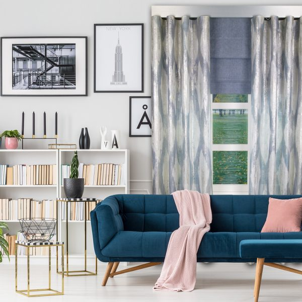 Combi Prestigious Perspective Seapine Wave Curtain with Iceland Thistle Roman Blinds