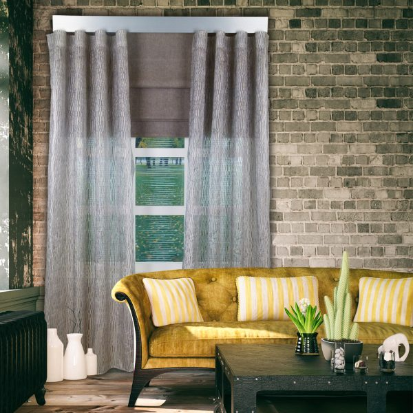 Combi Prestigious Spectacle Flint Wave Curtain with Iceland Mocha Roman Blinds