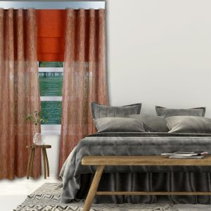 Combi Prestigious Spectacle Spice Wave Curtain with Iceland Clementine Roman Blinds