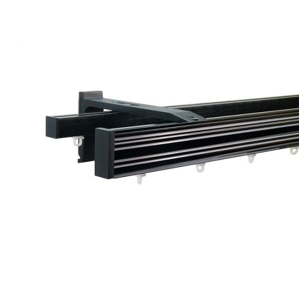 Now M52 40 x 18 mm Aluminum Poles Set Double Bracket for 6cm Wave Curtains Black